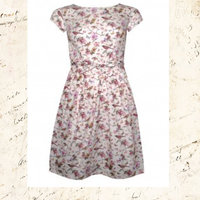 Vintage blue/grey Birds & Twigs Belt Dress