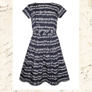 50's Blue Music Notes Dress